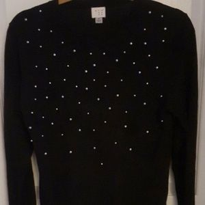 Black A New Day Beaded Embellished Sweater M